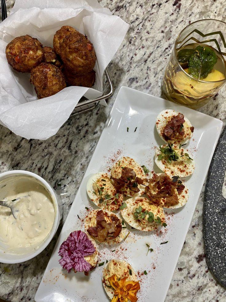 Juneteenth Appetizers & Cocktail: Crab Beignets, Deviled Eggs & Bourbon Beach Fizz