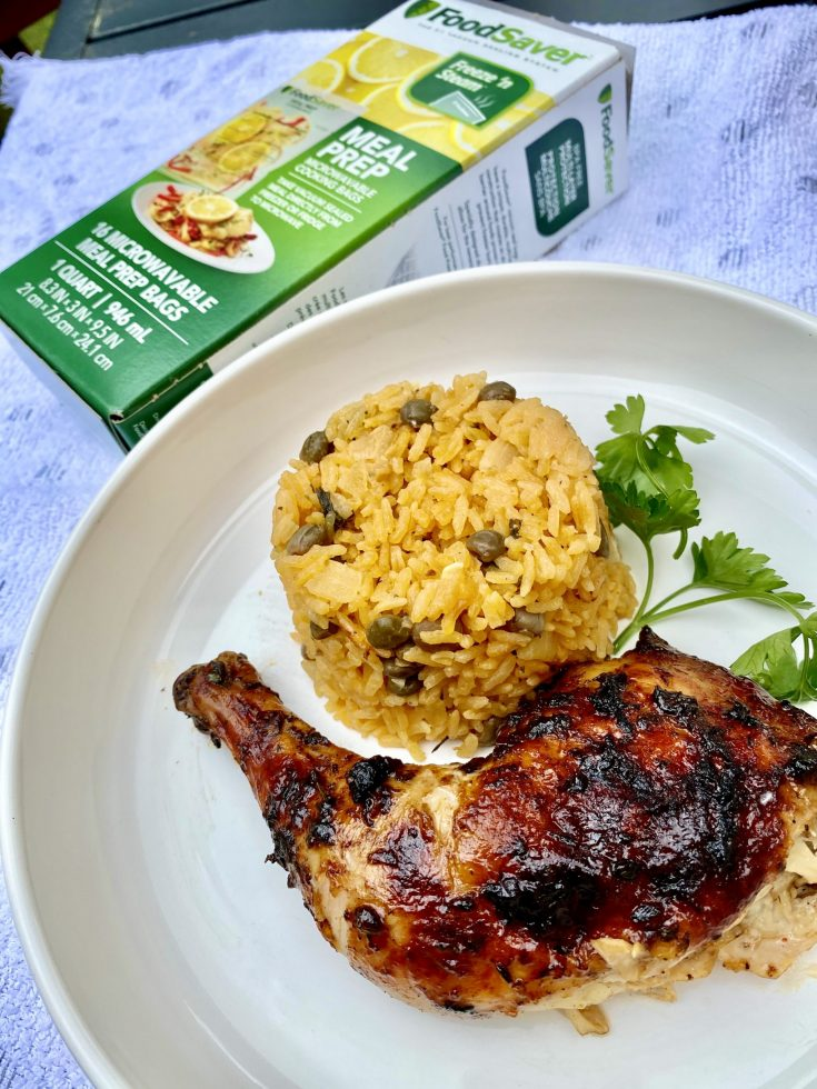 Oven-Baked BBQ Jerk Chicken with Arroz con gandules