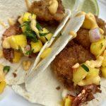 buttermilk fried shrimp tacos with mango salsa