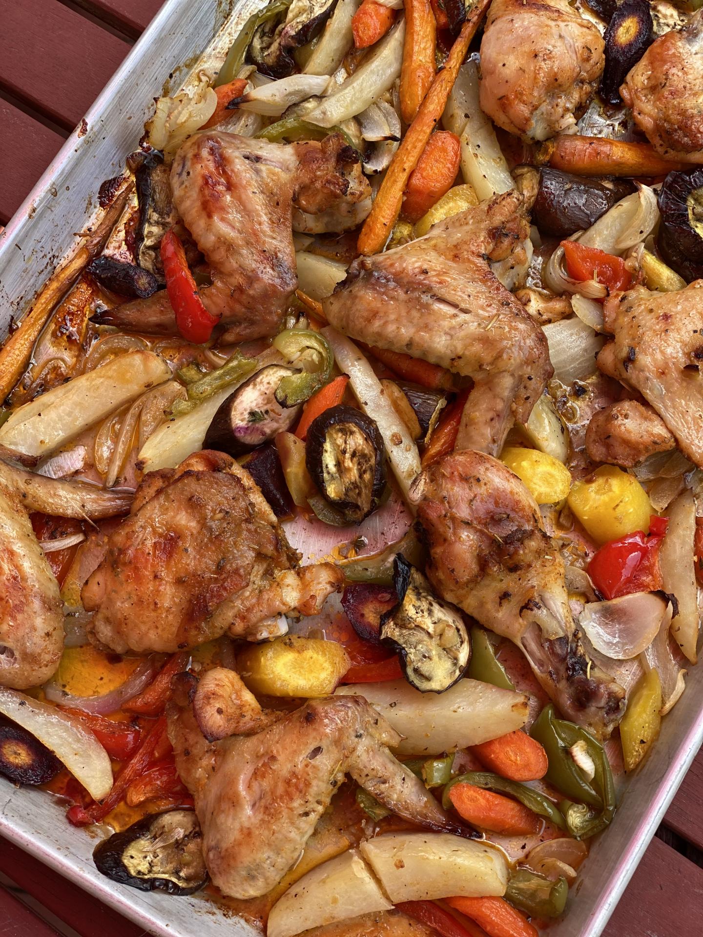 Sheet pan garden vegetables and chicken