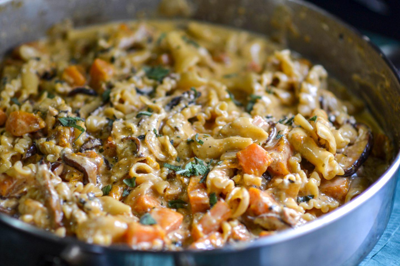 Creamy Pumpkin Mushroom pasta